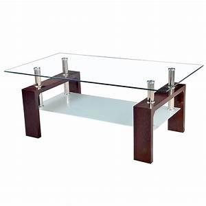 Table Plateau Verre Pied Bois : table basse marron avec plateau en verre tremp et pieds en bois dya ~ Melissatoandfro.com Idées de Décoration