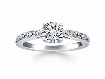 Diamond Ring Gold Pave Engagement 14k Cathedral