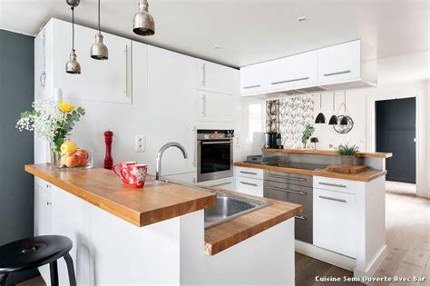 photo cuisine semi ouverte cuisine semi ouverte avec bar with contemporain cuisine