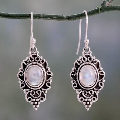 sterling silver and rainbow moonstone cabochon earrings celestial dewdrops novica