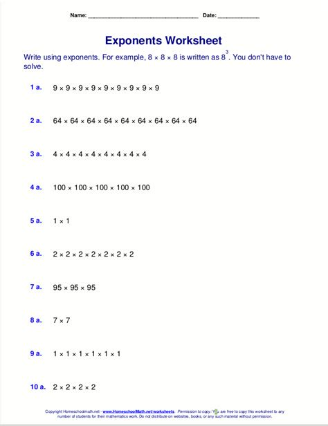 free exponents worksheets math homeschool worksheets