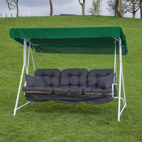 garden patio 3 seater white swing seat hammock with