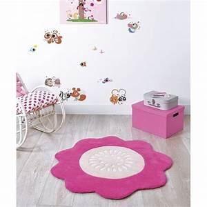 tapis fleur rose fushia pour chambre enfant fille par With affiche chambre bébé avec tapis Í fleurs