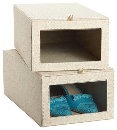 Linen Dropfront Shoe Box  Contemporary  Closet Storage