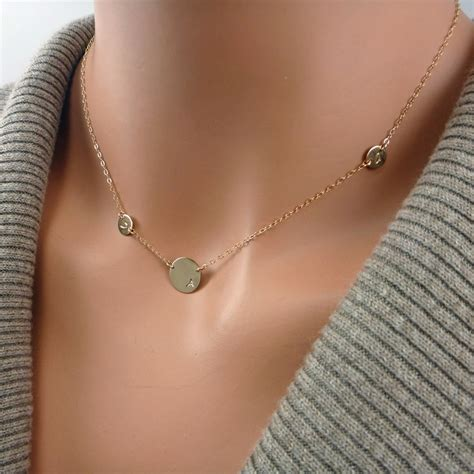 Asymmetrical Initial Necklace, One Large Disc and Two Tiny ...