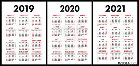 pocket calendar set basic simple template week