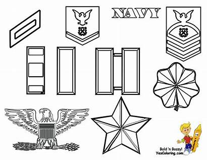 Coloring Navy Army Rank Insignia Yescoloring Pages