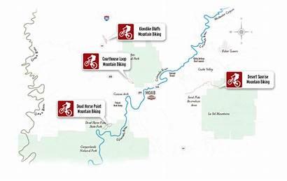 Moab Biking Mountain Map Klondike Bluffs Maps