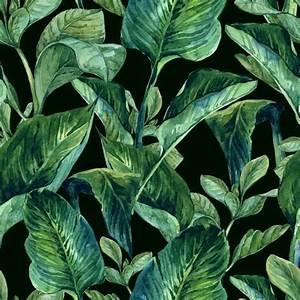 Watercolor Seamless Background with Tropical Leaves ...