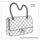 Purse Bag Handbag Drawing Chanel Bags Handbags Designer Sketches Coloring Pages Purses Sketch Drawings Illustration Cad Iconic Disegno Borsa Bolsa sketch template