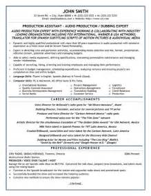assistant producer resume exles production assistant resume template premium resume sles exle