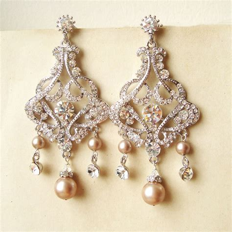 champagne pearl bridal earrings chandelier wedding earrings