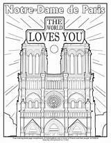 Coloring Dame Notre Paris Pages Rose sketch template