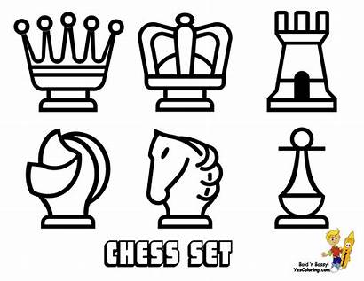 Coloring Pages Chess Pieces Yescoloring Board Easy