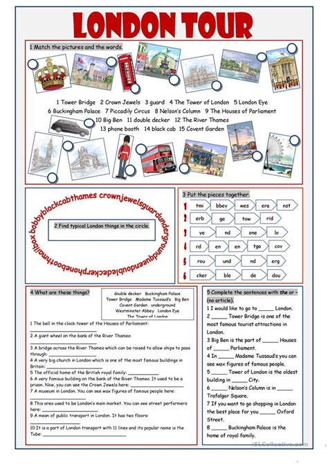london  vocabulary exercises worksheet  esl
