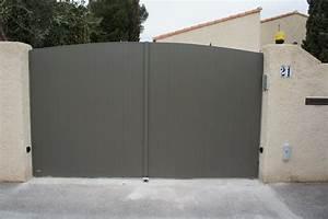 portail modele anjou battant en forme couleur gris alu With maison toit en verre 15 portail modele anjou battant en forme couleur gris alu