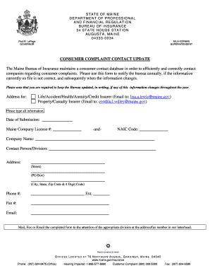 maine consumer complaint contact update fill