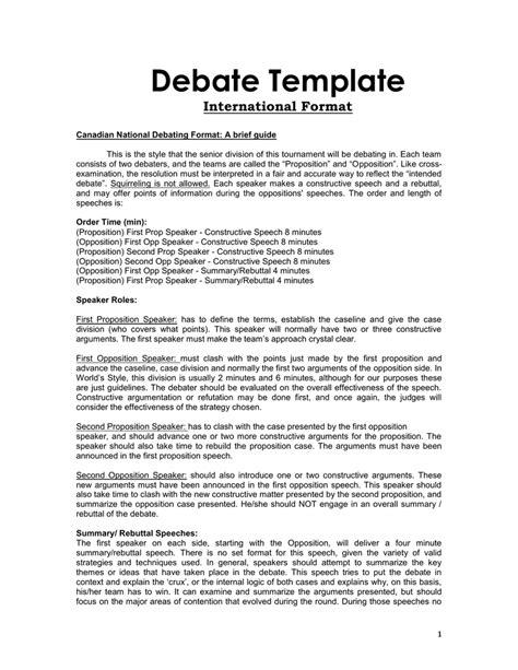Speaker Debate Template by Team Debate Format Olala Propx Co