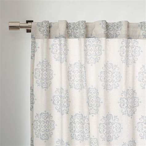 cotton canvas scroll medallion curtain smoke blue west elm