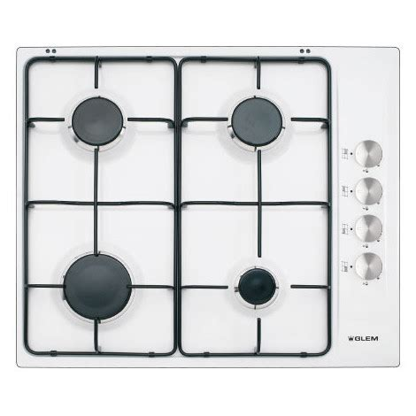 piani cottura glem glem gas gtl64wh piano cottura a gas 60 cm 4 fuochi colore