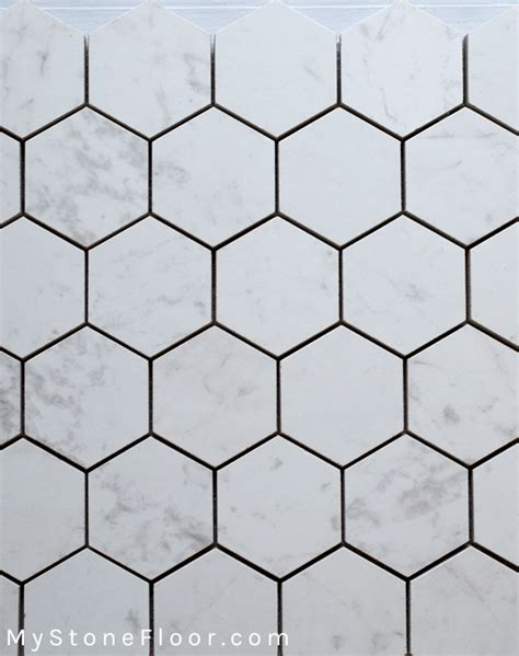carrara hexagon porcelain mosaic mystonefloor