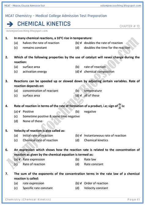 adamjee coaching mcat chemistry chemical kinetics mcqs
