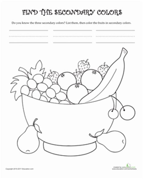 learn the secondary colors worksheet education 833   learn secondary colors nature kindergarten