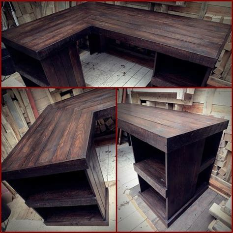 rustic wood corner desk pallet corner desk left hand corner by palletbrighton on