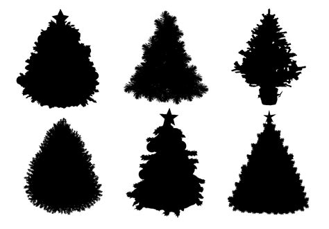christmas village trees silhouette template christmas tree silhouette download free vector art