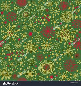 Christmas Pattern Green Red Snowflakes Stock Vector ...