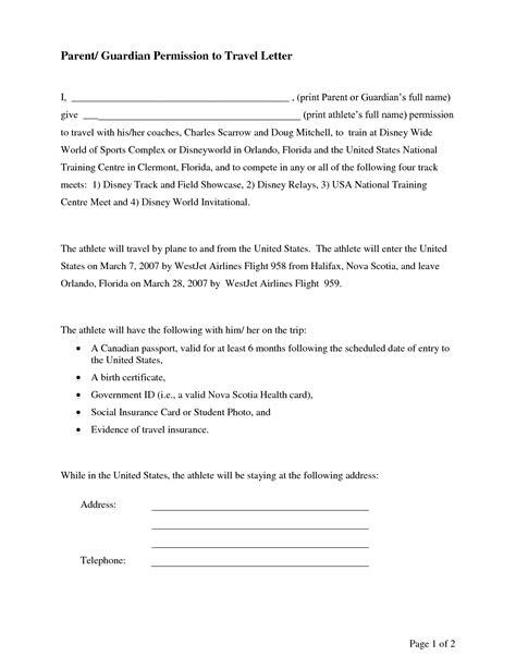 letter of permission to travel parental consent permission letter sle bagnas 11981