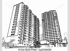 Clip Art of multistorey buildings Illustration with the