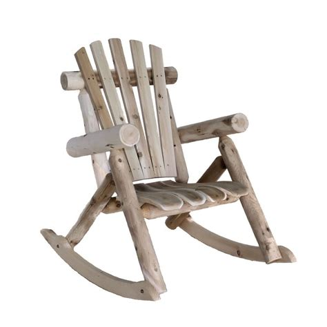 cedar log adirondack style rocking chair