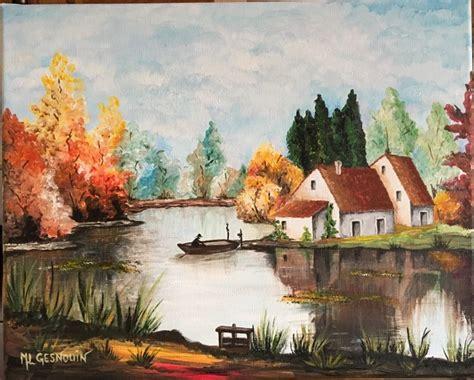 peinture a l acrylique sur toile paysage d automne peinture acrylique sur toile le de laury
