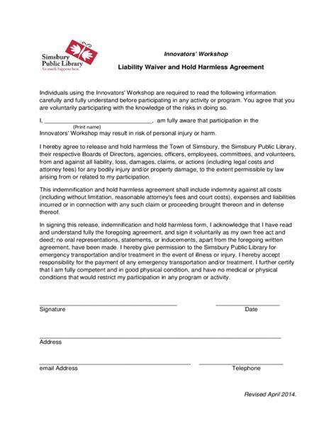 hold harmless agreement   templates   word