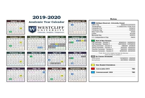 academic year calendar westcliff university