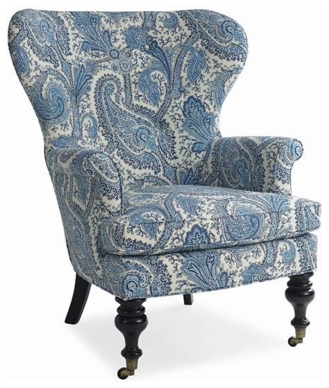 blue white paisley wing chair traditional