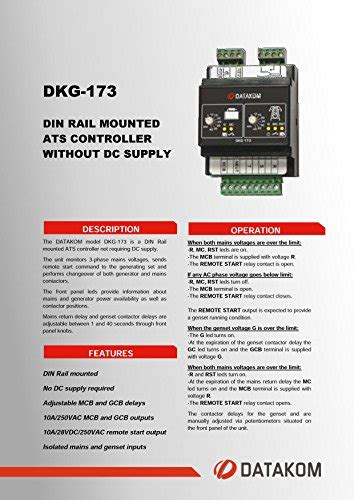 datakom dkg 173 230 400v generator mains automatic transfer switch panel ats buy in