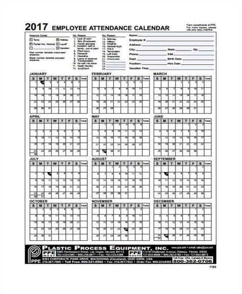 attendance calendar templates sample format