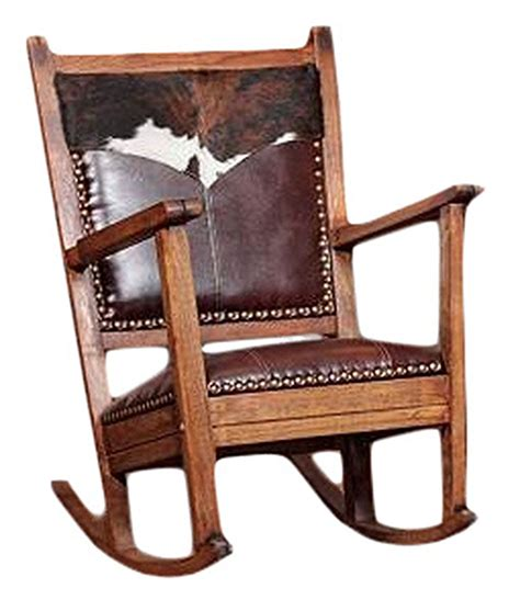 Cowhide And Leather Rocking Chair Rusticartistrycom