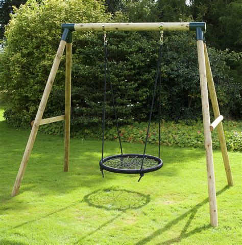 rebo mercury wooden garden swing set spider net nest