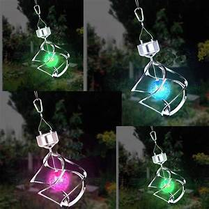 Rotating solar led lights colorful hanging lamp solar for Hanging solar patio lights