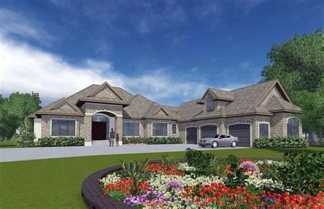 european style house plan    bed  bath  car garage bungalow house plans