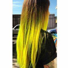 Neon green ombre dyed hair color hairbyalexandrea