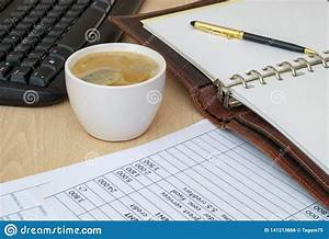 Coffee, Cup, Standing, On, The, Office, Desk, Stock, Photo
