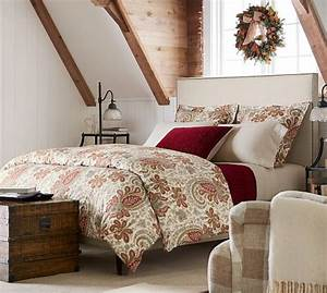 charlie paisley organic duvet cover sham red pottery With charlie bed pottery barn