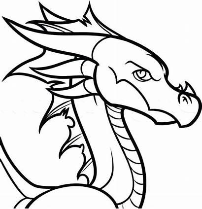 Dragon Cartoon Drawing Drawings Chinese Coloring Easy