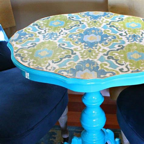 decoupaged fabric table makeover     side