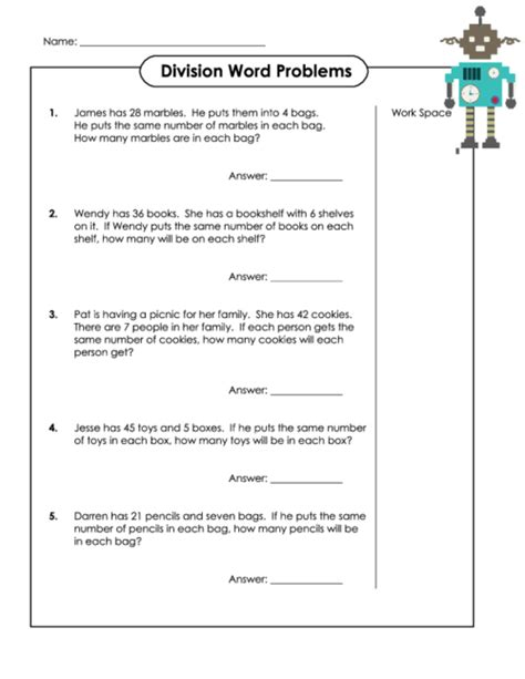 number names worksheets 187 word problems division with