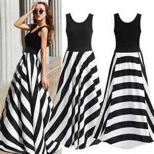2015 new arrival women dresses black and white stripes